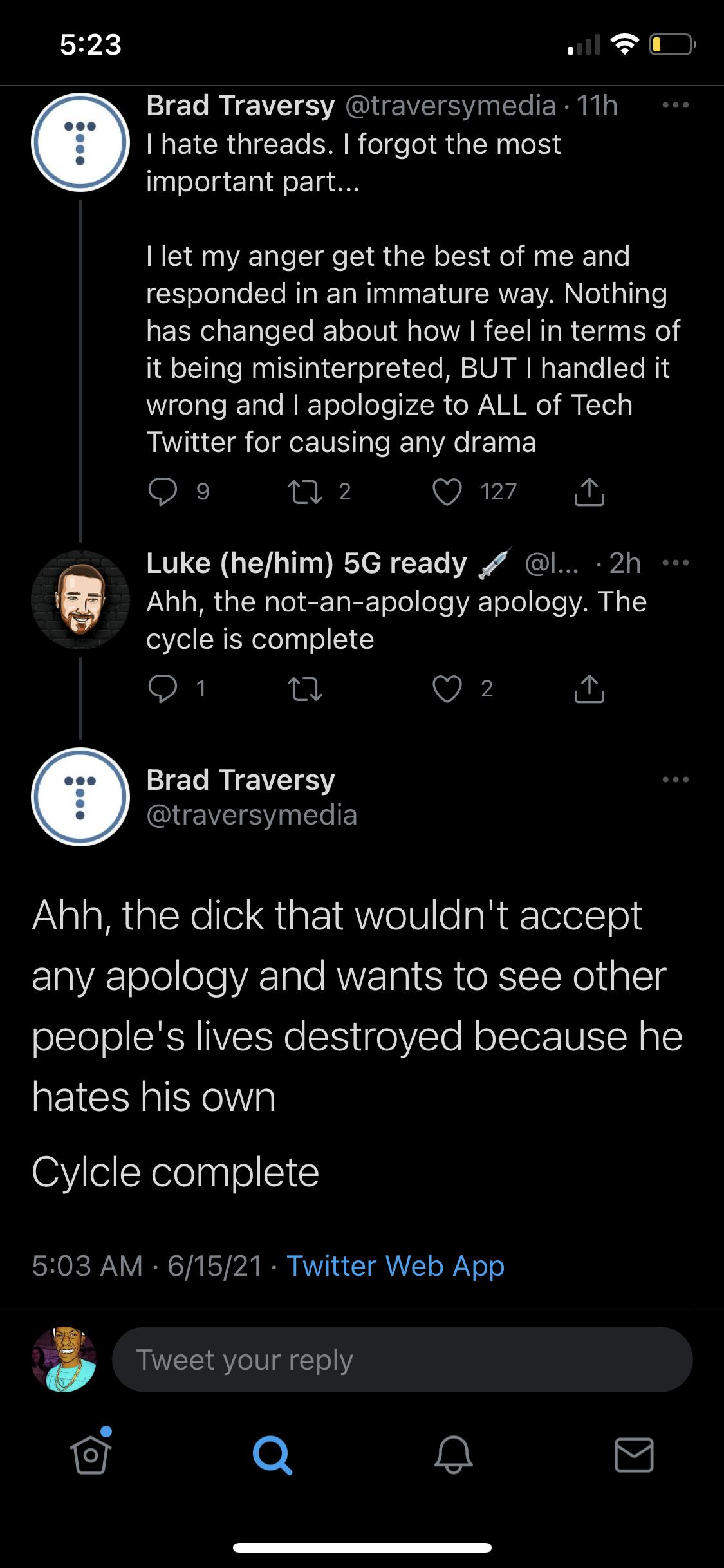 brad cutting people down on twitter