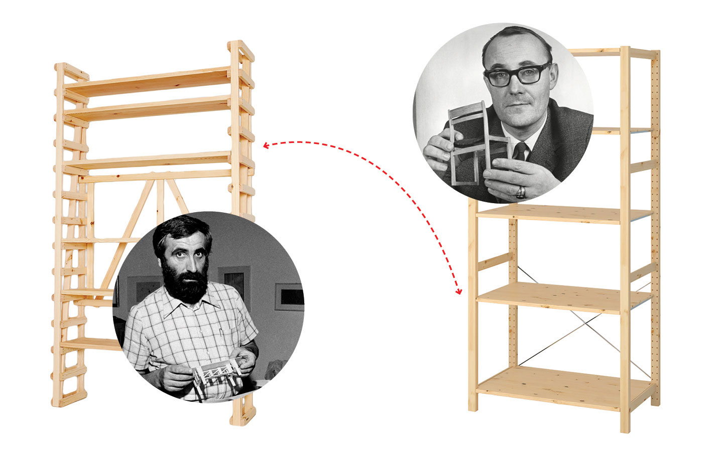 Enzo Mari on the left and Ingvar Kamprad on the right. Collage that illustrates Glenn Adamsons's article on *The Nation*.