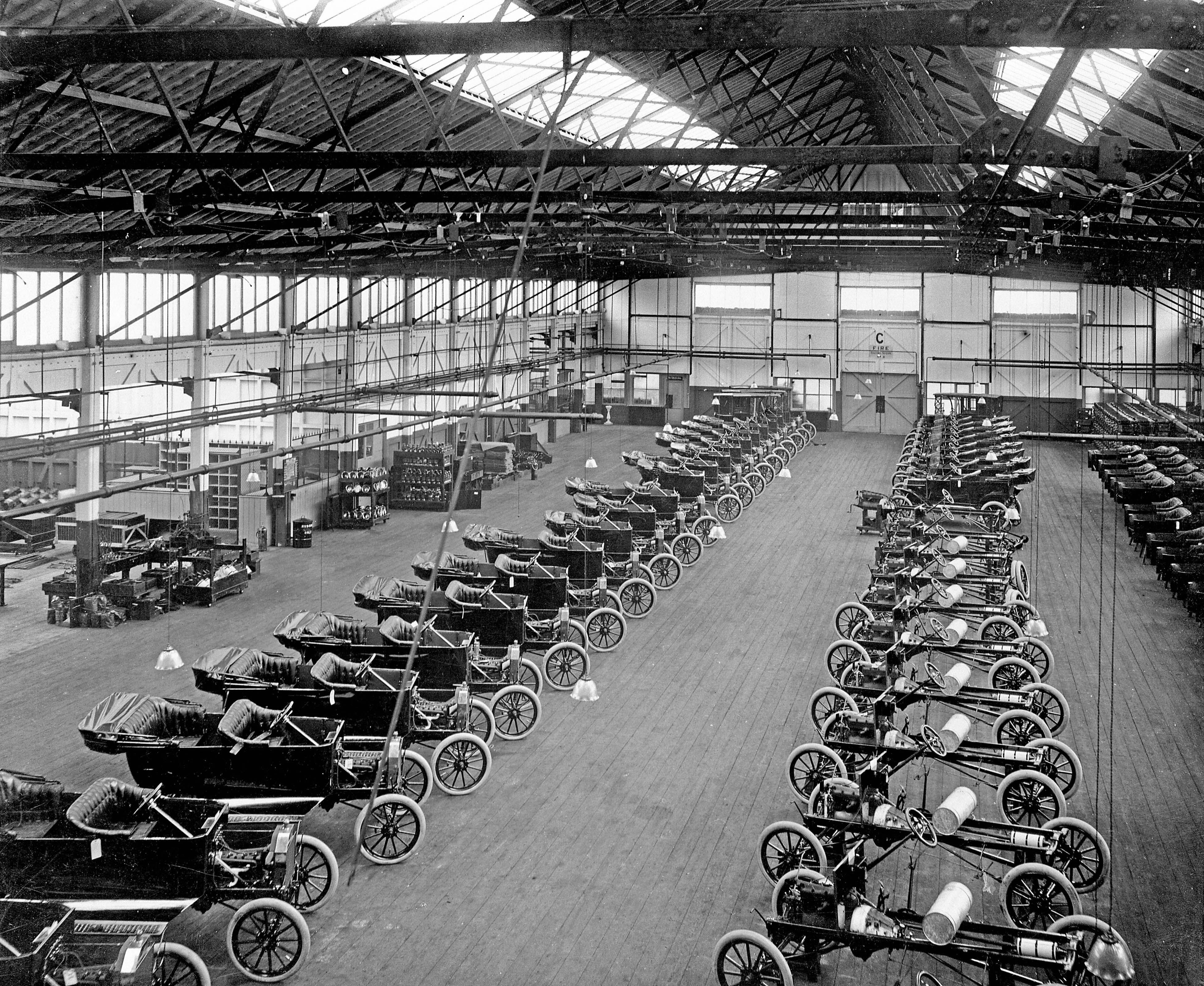 Interior of the Ford works, Trafford Park, Manchester, c1911-c1927. Photographer unknown.