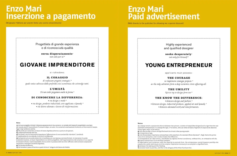 Enzo Mari's ad in Domus 869.